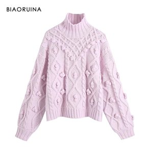 BIAORUINA Women's Lavender Ball Decoration Winding Knitted Turtleneck Sweater Female Loose Autumn Winter Thick Warm Pullover