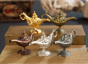 클래식 할로우 전설 Aladdin 마법의 Genie 램프 향 버너 레트로 소원 램프 홈 장식 선물 WB1352