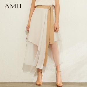 Amii minimalismo primavera verano moda asimmertrico mujeres falda causal alta cintura suelta becerro falda 120800431