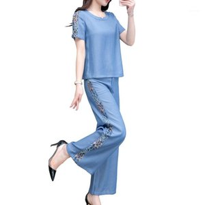 2020 Verano Nueva Moda Encaje Azul Denim Traje Trajes Para Las Mujeres Pantalones Casual Ligeramente Gordo Colgante Pierna Amplia Pierna Sitio de dos piezas1