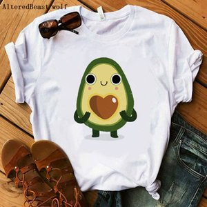 Cartoon Avocado Printed t shirt women 2020 New summer kawaii Short Sleeve t-shirt White section Hipster Tshirt Tops clothes