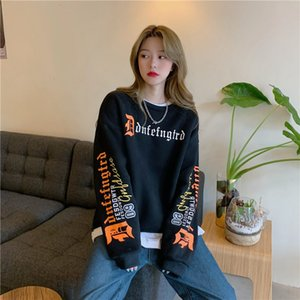 Outlet Fried Street Sanskrit printed crew neck sweater women's autumn and winter Plush New Harajuku ins loose top