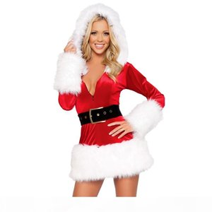 Vocole Sexy Christmas Santa Claus Costume Velvet Faux Fur Mrs Xmas Cosplay Fancy Dress Adult Women Mini Dress Size M L XL