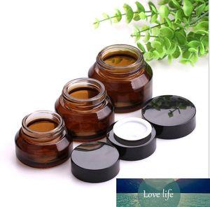 1 ADET 15g 30g 50g Amber Yeşil Boş Cam Yüz Kremi Kavanoz Tencere Kozmetik Konteyner Siyah Kapak Cam Şişe Seyahat Ambalaj