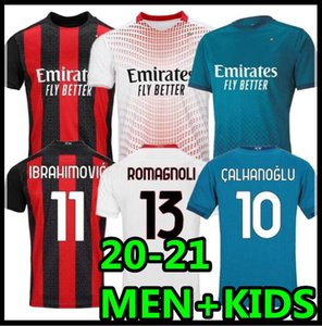 20 21 Milan Soccer Jersey Ibrahimovic 11 Kaka Paqueta Bennacer Romagnoli 2020 2021 Camicia da calcio Theo Rebic Maillot Men + Kid Kit