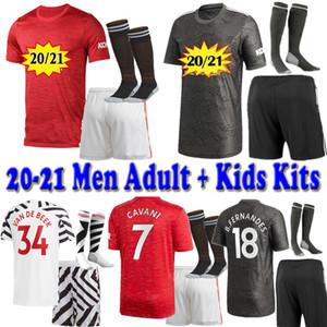 20 21 Мужчины для взрослых + дети Манчестер Универсальные Наборы Набор футбольных майков + короткие + носки 2020 2021 UTD Greenwood Pogba Rashfor
