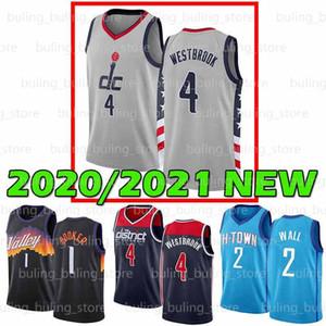 2020 2021 Nuovo WashingtonWizards.Jersey Houston.Rocket Russell 4 Westbrook John 2 Wall James 13 Harden 20 21 Maglie di basket