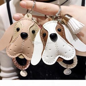 Cute Dog Animal Keychain PU Leather Trinket Braided Rope Handmade Key Ring Car Keyring Bag Pendant Charms Key Chain