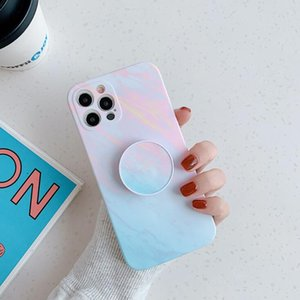 Symphony marble pattern folding stand is suitable for iPhone 12 pro max  12Pro fine-hole silicone phone case wireless bluetooth headphones