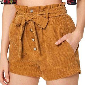 Cinessd 2020 Donne Estate Nuovi Pantaloncini Casual Pantaloncini Casual Corredindistruttura Dritto Corduroy Shorts Ladies Plus Size Slitte T