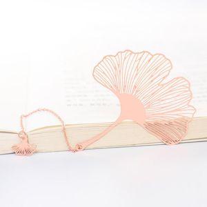 Vintage Metal Bookmark Chinese Style Leaf Veins Rose Gold Hollow Maple Leaf Tassel Apricot Leaf Bookmark For Stationery Gifts H bbyQjr