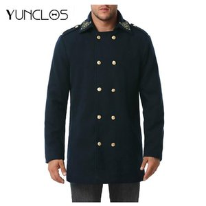 Yunclos Winter Jacket Men Windbreaker Jacket Trench Men Long Solid Color Lapel Coat Navy Style Outwear