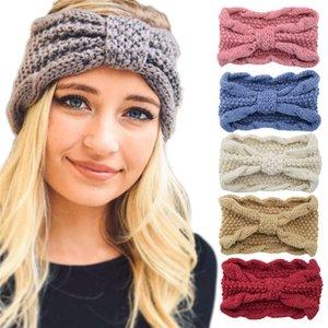 18 color Winter keep warm Knitted Headband Sports Hairband Turban Yoga Head Band Thickened Corn grain knitting Headbands Party Favor FF472