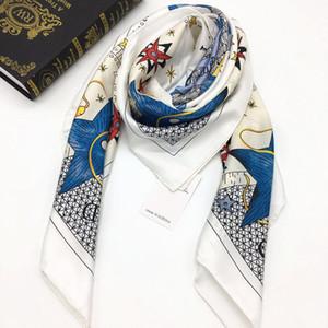 Wholesale- new design women's square scarf 100% twill silk material good quality white color fashion sun Women size 110cm - 110cm