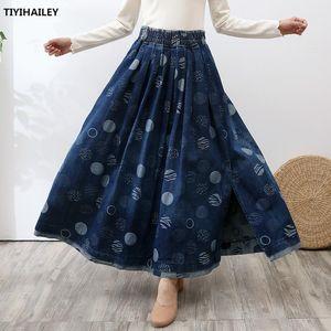 TIYIHAILEY Free Shipping Long Maxi A-line Women Elastic Waist Winter Autumn Denim Jeans Vintage Big Hem Print Slit Skirt Thick