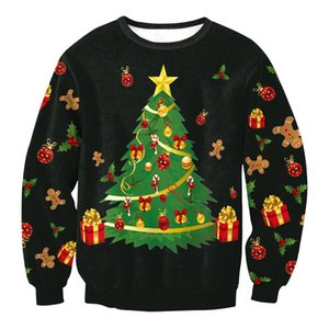 New Funny Ugly Christmas Sweater Men Women Novelty Holiday Xmas Pullover Sweatshirt print Christmas tree Sweaters Jumpers Tops W1217