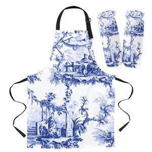 Blue Chinoiserie Tile Avental Cozinha Cozinha Limpeza Pinafe Acessórios Cozinhar Avental Avental Avental Para Mulher