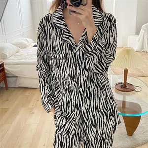 2021 Spring and Autumn Pajamas Zebra Pattern Two-piece Suit Sleepwear Loose Long Sleeve Women's Home Clothes Cn(origin)