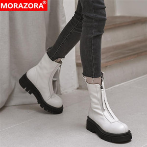 MORAZORA 2021 New genuine leather boots zip platform ankle boots round toe fashion autumn winter ladies casual shoes