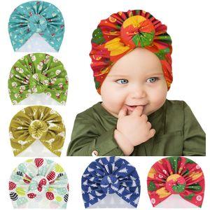 DHL Shipping Newborn Hospital Hat Xmas Print Donut Baby Cap Soft Cute Knot Elastic Stretch Head Wrap Christmas Gift 6 Styles Kimter-X876FZ
