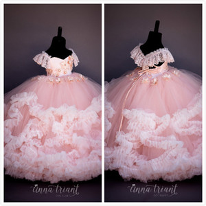 Pink Lace Beaded Flower Girl Dresses Ball Gown Hand Made Flowers Cheap Little Girl Wedding Dresses Vintage Pageant Dresses Gowns F089