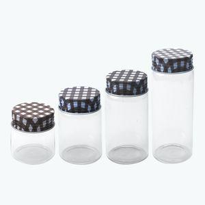6Pcs 50ml 80ml 100ml 150ml Klarglasflaschen mit Brown Aluminiumdeckel kreative Geschenke Crafts Keksdosen nachfüllbare Spielraum-Flaschen