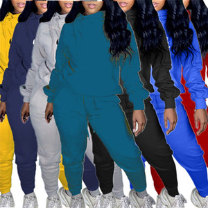 Женские 2 шт. Jogger набор трексуита с длинным рукавом наряды с капюшоном рубашка рубашка повседневная рубашка колготки спортивный костюм пуловер брюки горячие продажи KLW5051