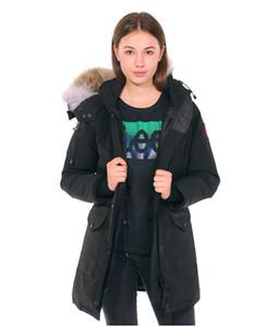 Invierno Nueva marca Canadá Jocket de las mujeres con capucha con capucha con capucha con capucha con capucha de pieles de viento al aire libre Parka Doudoune Envío gratis