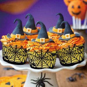 12Pcs Set Halloween Decorations Cupcake Wrappers Case Hollow Laser Cut Cake Decorating Supplies Party Accessories