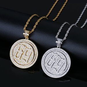Hip Hop Necklace Jewelry Luxury Exquisite 18K Gold Plated Spin Circle Pendant Necklace Grade Quality Zircon Six Nine Necklace LN039
