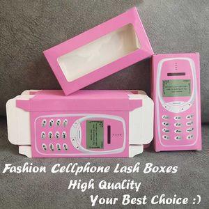 Fanshion Cellphone Lash Box Retail Bulk Pink Eyelash Packaging Box Wholesale Cute Beauty Case for 25mm False Lashes Case