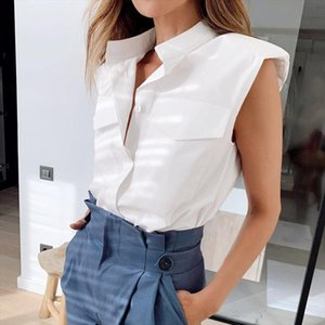 DEAT 2020 New Summer Fashion Casual Patchwork Turn down Collar White Shoulder Temperament Sleeveless Shirt Top Women SD775