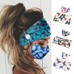 Dois pedaços ajustaram faixa de cabelo máscara de rosto Butterfly Butterfly botão de cor largo headband à prova de poeira máscaras de boca inverno 7 92jy k2