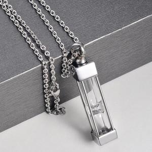 Cilindro de vidrio de acero inoxidable Cilindro Cuadrado Colgante Collar Memorial Collar de Ashes Holder Mantiene Joyería de cremación