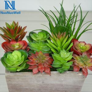 NuoNuoWell 8pcs-Pack Mixed Kind Succulent Plants Kit Artificial Echeveria Plant Landscape Grass DIY Pot Fake Flower Z1120