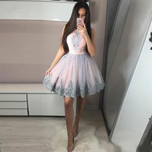 Ginocchio mini abiti da ritorno a casa rosa rosa satinato tulle gonna a-line graduazione Dreses pizzo Appliques brevi abiti da ballo