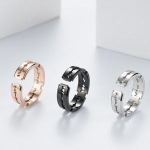 6.5MM Stainless Steel Rose Gold Silver Black Men's Hollow Razor Blade Top Biker Ring Size 6-11