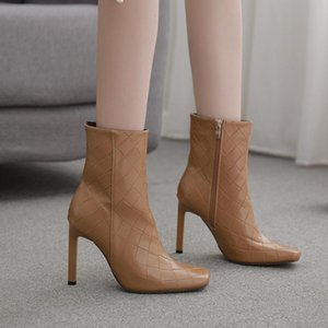 Winter Women's Shoes Square Toe Stiletto Boots 35-42 Large Size High Heel Short Boots -96-7