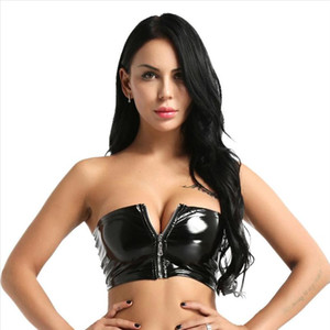 Mujeres negras Sexy Mirada mojada Faux de cuero PVC Vinyl Shiny Zipper Baneau Sujetador Tube Vendaje BRALET CURRY TANK TOP BRALETTE Bustier