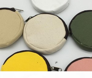 10pcs Women DIY Blank Round canvas zipper pouches cotton Coin Purses Mix color