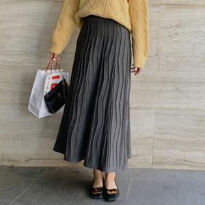 Saia Mulher 2020 Vintage Longo Cintura Alta Novo Estilo Japonês Big Swing Woolen tornozelo-Comprimento A-Linha Três Cor Suit Fall Winte Winte