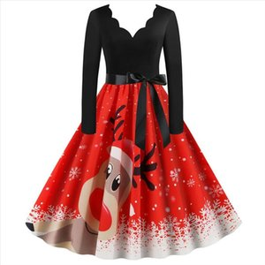 Vintage Christmas Dress Women Casual Patchwork Party Dress Christmas Deer Printed Robe 50S 60S Rockabilly Swing Pinup Vestidos