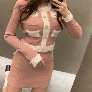 Tassel Pockets Vintage Metal Button Knit Women Pink Two Piece Set Autumn Winter Korean Black Sexy Mini Bodycon Skirt And Top Set