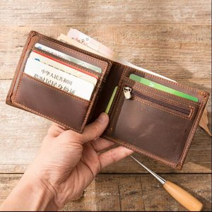 2020 Fashion genuine leather men wallet Leisure women wallet leather purse for men card holders wallet free B2022