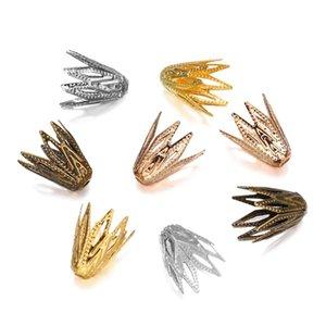 100pcs lot 810 mm Gold Filigree Conne Caps End Perle Hollow Out Flower pour bricolage Boucles d'oreilles Boucles d'oreilles Bijoux Fournitures H JLLPCP
