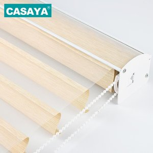High Grade Shangri-la Blinds Child Safety Transparent Window Curtains Triple Roller blinds for Living Bed Room Customized Size T200718