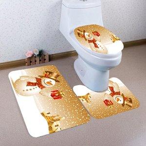 Sarı Noel Kardan Adam Desen Banyo Seti 3 adet Avrupa Joyous Bath Mat Anti Kayma Duş Mat ve Tuvalet Mat Setleri FWC3831