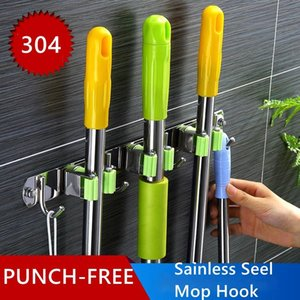 304 Stainless Steel Mop Hook Broom Holder Multi-Purpose Hooks Wall Mounted Mop Organizer Holder Housework Accessories