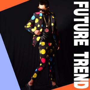 Hot 2020 New Men Clothing Fashion Slim Dj Color Dot Blazer Suit Plus Size Jackets Mens Dancing Party Suits