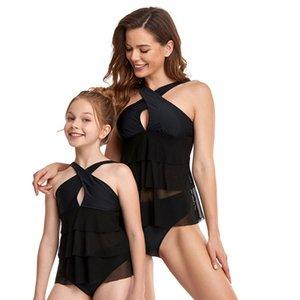 Hotsale parent-enfant maillot de bain maillot de bain bouffon goudon couvrant ventre fendu bikini gilet style taille haute maille adulte enfants